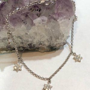 Jewelry - Sterling Silver Bracelet Cz Flower Charms
